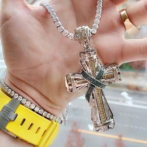 10k Solid Gold Diamond Cross Pendant